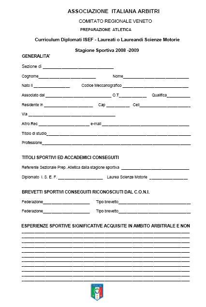 Curriculum Sportivo Da Compilare Firmakoek